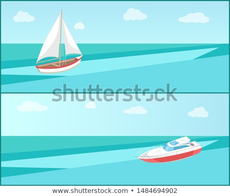 sea trip web poster modern yacht boat with canvas stock photo © robuart