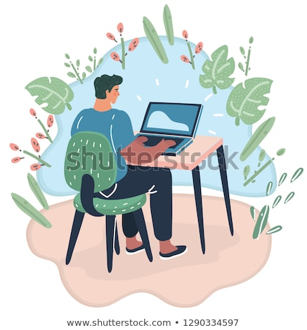 Kadın bilgisayarı serbest çalışmak komik karikatür pop art Stok fotoğraf © rogistok