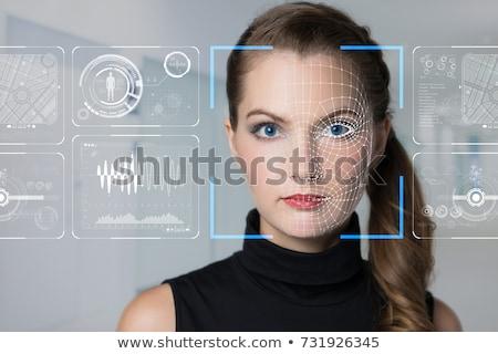 Reconhecimento tecnologia inteligência artificial homem segurança azul Foto stock © ra2studio