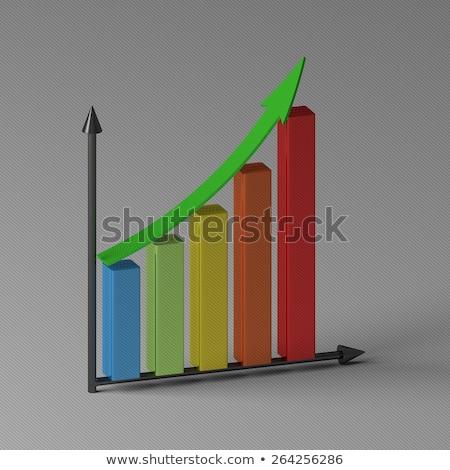Oszlopdiagram mutat növekedés 3D renderelt kép bár Stock fotó © Elnur