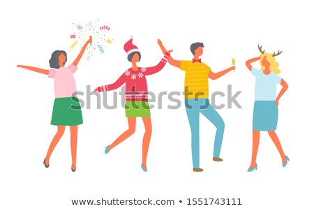 Christmas Party, Coworkers Dancing, Corporate Fest Stock photo © robuart