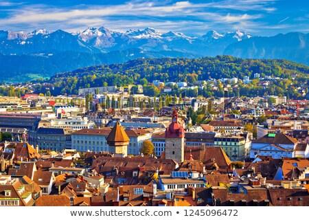 のどかな · 屋根 · 表示 · セントラル · スイス · 建物 - ストックフォト © xbrchx