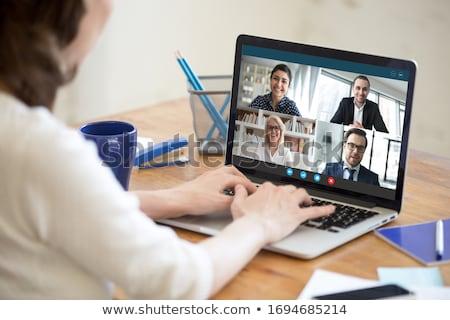 Empresária empresário parceria reunião vetor colaboração Foto stock © robuart