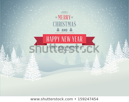 Forest Merry Christmas. Tree and Snowman Vector Stock photo © robuart