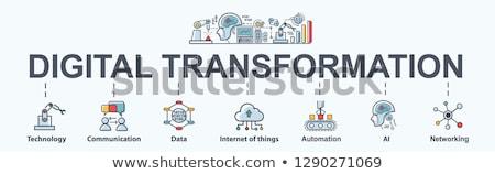 digitális · átalakulás · munka · laptop · adat · pici - stock fotó © rastudio