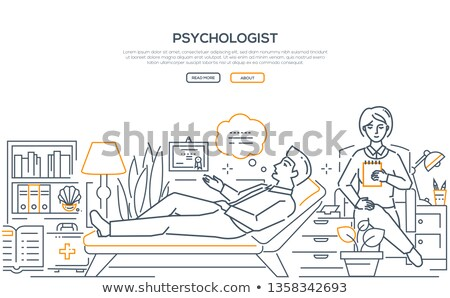 Psychologist at work - modern line design style illustration Stock photo © Decorwithme