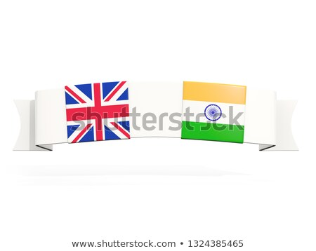 Stock photo: Banner with two square flags of United Kingdom and india