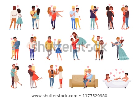 Dating Girlfriend Boyfriend Vector. Smiling Lovers Stock photo © robuart