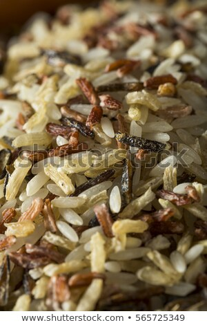 Red bowl of raw organic basmati long grain and wild rice on white background. Healthy food.  Stock photo © DenisMArt