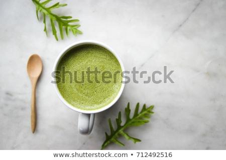 Thé vert verre tasse cuisine bois santé Photo stock © dashapetrenko