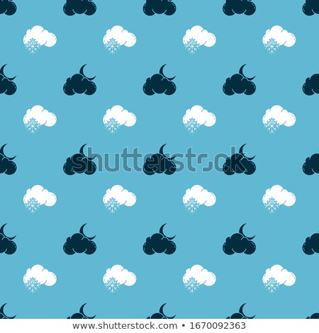 vector illustration of seamless pattern background set with moon star rain snowflakes and cloud stock photo © lemony