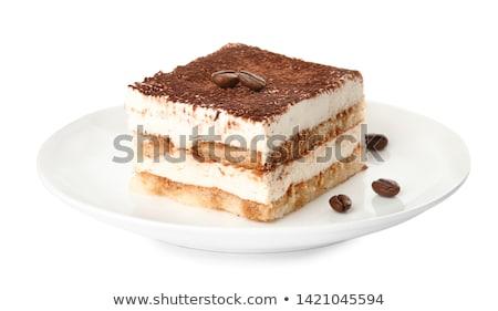 Adag tiramisu fehér tányér közelkép kávé Stock fotó © Alex9500