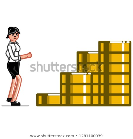 business woman raning on coins stairs stock photo © netkov1