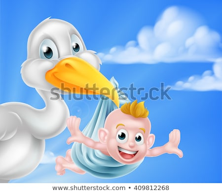 Stork Cartoon Pregnancy Myth Bird With New Baby Stock photo © Krisdog