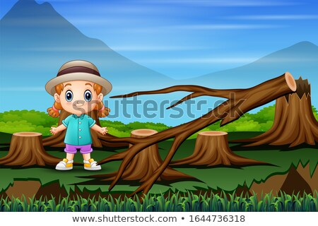 deforestation scene with lumber chopping trees stock photo © colematt