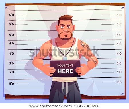 Rajz illusztráció bűnöző tart felirat pénz Stock fotó © bennerdesign