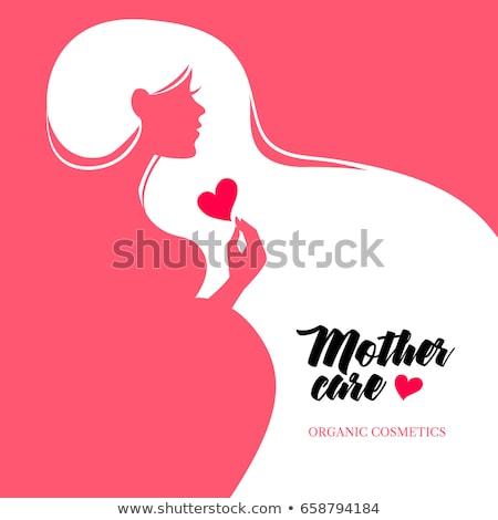 zwangere · vrouw · vector · mooie · lijn · tekening · hand - stockfoto © cienpies