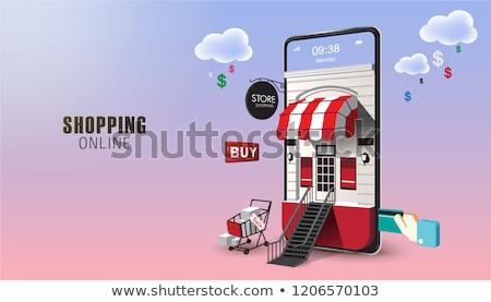 Online vásárlás alkalmazás rajz szakállas férfi internet Stock fotó © jossdiim