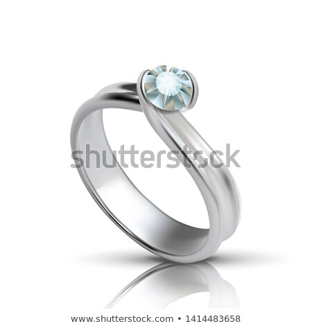 Stylish Silver Ring With Diamond On Top Vector Stock photo © pikepicture