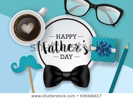 happy fathers day card design with realistic bow Stock photo © SArts