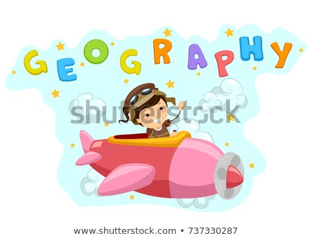 Stickman Kid Girl Airplane Geography Illustration Stock photo © lenm