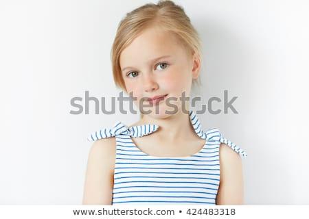 Portré derűs fiatal fürtös szőke nő lány Stock fotó © deandrobot