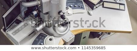 Elektron microscoop wetenschappelijk laboratorium banner lang Stockfoto © galitskaya