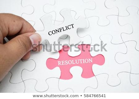 conflicto · mediación · mano · escrito · marcador · transparente - foto stock © olivier_le_moal