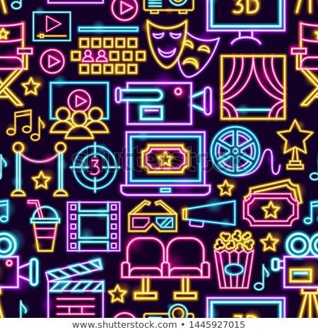 Cinema Film Neon Seamless Pattern Stock photo © Anna_leni