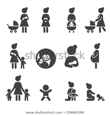 pregnant woman with baby icon stock photo © angelp