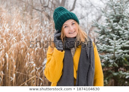 happy woman in hat and scarf over winter forest Stock photo © dolgachov