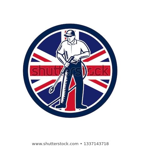 Britânico pressão lavagem union jack bandeira círculo Foto stock © patrimonio