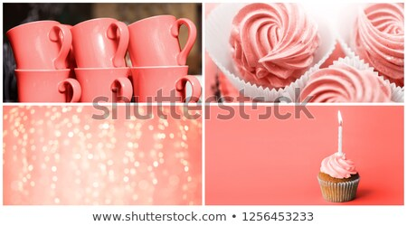 party food collage in living coral color stock photo © dolgachov