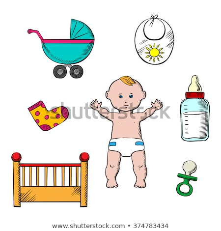 Stock photo: Baby Encircled with Toys and Bottles for Kids