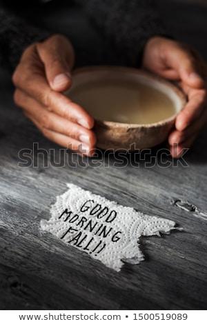 buongiorno · messaggio · caffè · carta · legno · bere - foto d'archivio © nito