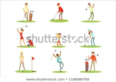 menina · jogador · de · golfe · fora · ferro · saco · de · golfe - foto stock © lichtmeister