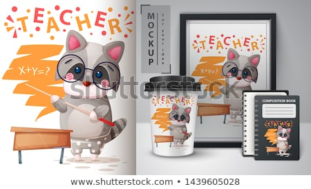 cartoon school animals   mockup for your idea stock photo © rwgusev