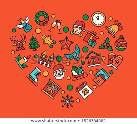 Natal forma de coração linear férias Foto stock © Decorwithme