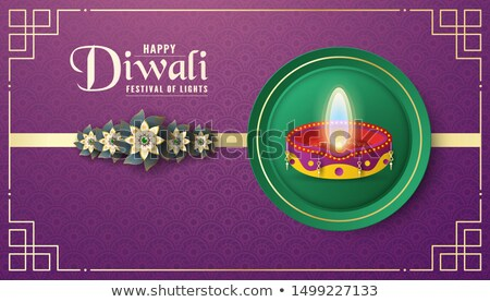 Stock photo: Happy diwali holiday flower candles web template