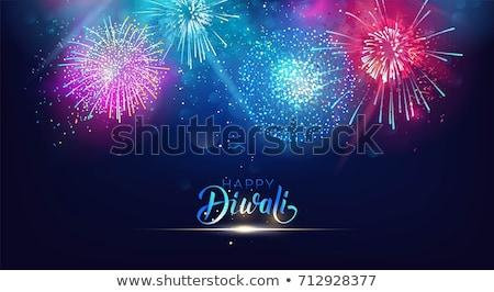 Feliz diwali celebración fuegos artificiales oscuro banner Foto stock © SArts