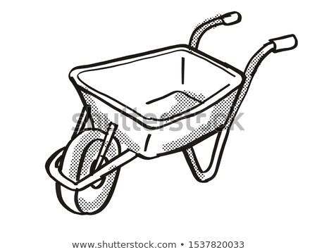 Wheel Borrow or Wheelborrow Wagon Cartoon Retro Drawing Stock photo © patrimonio