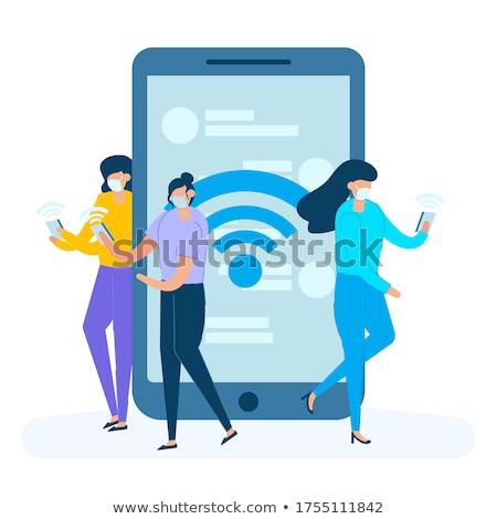Persona tableta seguridad jóvenes Foto stock © ra2studio