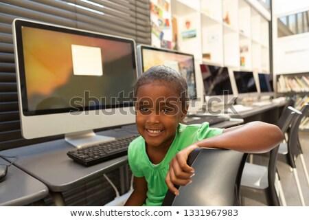 мнение счастливым афроамериканец школьница сидят Сток-фото © wavebreak_media