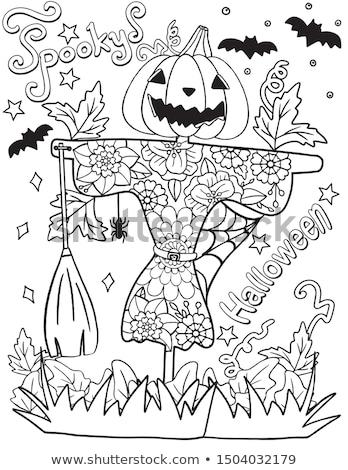 Cartoon cute colorful hand drawn doodles Happy Halloween poster Stock photo © balabolka