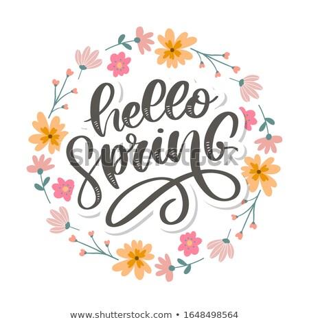 ハロー · 春 · 文字 · テンプレート · 実例 · 花 - ストックフォト © barsrsind
