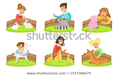 girl is feeding rabbits in the petting zoo Stock photo © galitskaya