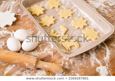 Tálca nyers karácsony sütik három tojások Stock fotó © pressmaster