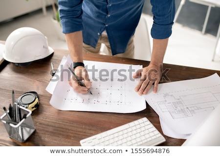 Eller çağdaş mimar kalem mum boya çizim Stok fotoğraf © pressmaster