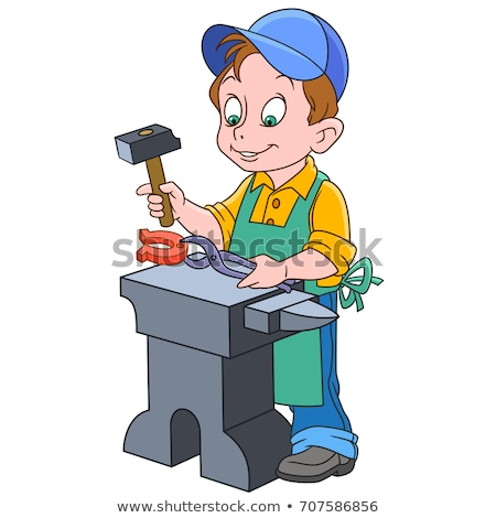 Cartoon Blacksmith with a Hammer Stock photo © Voysla