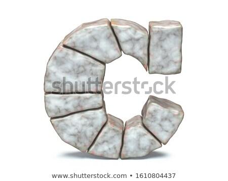 Rock metselwerk doopvont letter c 3D 3d render Stockfoto © djmilic